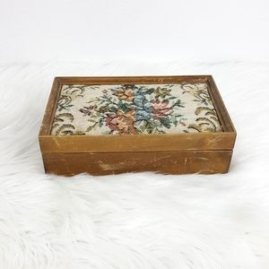 Vintage Floral Rose Wooden Women's Jewelry Box